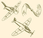 Hand drawn airplanes in the sky Royalty Free Stock Photo
