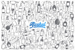 Hand drawn alcohol set background with lettering Royalty Free Stock Photos