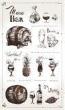 Hand drawn alcoholic beverages. Retro menu design royalty free illustration