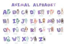 Hand-drawn alfabet, doopvont, brieven Krabbel ABC voor jonge geitjes met leuke dierlijke karakters Vector geïsoleerde illustratie Royalty-vrije Stock Foto's