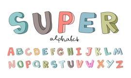 Hand-drawn alfabet, doopvont, brieven Krabbel ABC voor jonge geitjes Vector illustratie die op witte achtergrond wordt geïsoleerd Stock Afbeelding