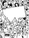 Hand drawn Aliens and Monsters cartoon doodle Stock Photography