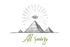 Hand drawn all seeing eye with lettering Royalty Free Stock Photo
