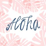 Hand Drawn Aloha. Brush Texture Text with Tropical Monstera Leaf. Trendy summer pastel background for banners, invitations, posters, birthday, party royalty free illustration