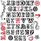 Hand drawn alphabet. Isolated on white background Stock Photos