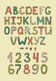 Hand drawn alphabet ABS letters stock illustration