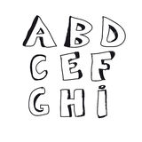 Hand Drawn Alphabet With Black Color Stock Image