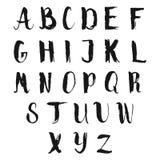 Hand drawn alphabet. Black vector letters Stock Photos