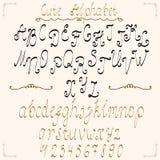Hand drawn alphabet with calligraphic elements Stock Photos