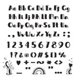 Hand drawn alphabet. Capital letters, lowercase, numbers and symbols in fun cartoon style. Vector illustration vector illustration