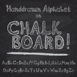 Hand drawn alphabet design on chalk board, rough vector font upper and lower case leters Royalty Free Stock Images