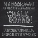 Hand drawn alphabet design on chalk board, rough vector font uppercase leters.  Vector Illustration