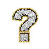 Hand drawn alphabet design. Figure question mark. Gold glittering contour. Vector EPS8 illustration Stock Photo