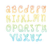 Hand drawn alphabet. Doodle letters set. Colorful font on white background. Hand drawn alphabet on white background. Doodle letters set. Colorful letters Royalty Free Stock Image
