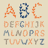 Hand drawn Alphabet flowers letters. Royalty Free Stock Photography