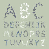 Hand drawn Alphabet flowers letters. Royalty Free Stock Images