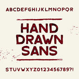 Hand drawn alphabet font. Dirty sans serif letters and numbers. Royalty Free Stock Photo