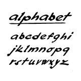 Hand drawn  alphabet, font, isolated ink letters Royalty Free Stock Photo