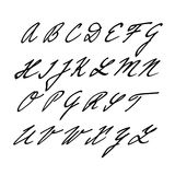 Hand drawn  alphabet, font, isolated upper case letters, initials. Written with marker or ink Stock Photos
