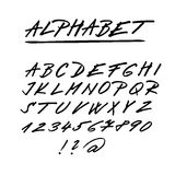 Hand drawn  alphabet, font, isolated upper case letters, numbers Stock Image