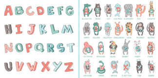 Hand-drawn alphabet, font, letters. Doodle ABC for kids with cute animal characters. Vector illustration, isolated on Royalty Free Stock Photography