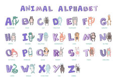 Hand-drawn alphabet, font, letters. Doodle ABC for kids with cute animal characters. Vector illustration, isolated on. White background stock illustration
