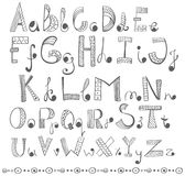 Hand drawn alphabet. Funny doodle ABC Royalty Free Stock Photos