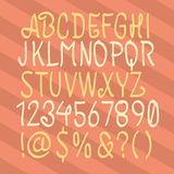 Hand Drawn Alphabet. Hand Drawn Script. Hand Drawn ABC. Hand Wri. Tten Type. Uppercase, Numbers, Symbols. Vector Objects Stock Photo