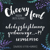 Hand drawn alphabet. Handmade letters. Cheery handwritten alphabet with floral elements on background. Hand drawn calligraphy. Modern chalk typography Royalty Free Stock Photography