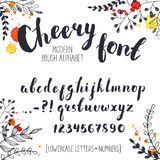Hand drawn alphabet. Handmade letters. Cheery handwritten alphabet with floral elements on background. Hand drawn calligraphy. Modern inc typography Royalty Free Stock Images