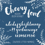 Hand drawn alphabet. Handmade letters. Cheery handwritten alphabet with floral elements on bluebackground. Hand drawn calligraphy. Modern chalk typography Royalty Free Stock Photos