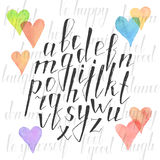Hand drawn alphabet. Handmade letters. Handwritten alphabet with watercolor hearts on background. Hand drawn calligraphy. Modern inc typography Stock Image