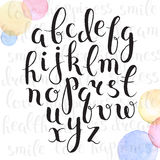 Hand drawn alphabet. Handmade letters. Handwritten alphabet with watercolor spots on background. Hand drawn calligraphy. Modern inc typography Stock Photo