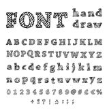 Hand drawn alphabet. Handwritten font Royalty Free Stock Photo