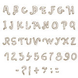 Hand drawn alphabet. Handwritten font Royalty Free Stock Photography
