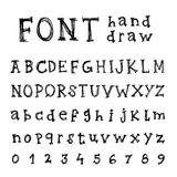Hand drawn alphabet. Handwritten font - Stock Photography
