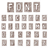 Hand drawn alphabet. Handwritten font -. Doodle - Letters, uppercase, lowercase, numbers, digits, symbols set. Isolated in white background Royalty Free Stock Image