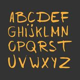 Hand drawn alphabet, latin characters set. Vector lettering for posters, banners or greeting cards.  royalty free illustration