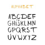 Hand drawn alphabet, latin characters set. Vector lettering for posters, banners or greeting cards. Isolated on white background.  royalty free illustration