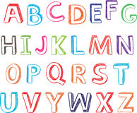 Hand drawn alphabet letters. Stock Photography