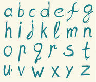 Hand drawn alphabet letters with brush. Royalty Free Stock Photo