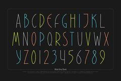 Hand drawn alphabet letters and numbers.  font type. Design. handcrafted lettering symbols, colorful typesetting. thin line write typeface Royalty Free Stock Images