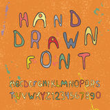 Hand drawn alphabet letters and numbers. Vector Stock Photography