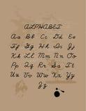 Hand drawn alphabet-4. Hand drawn letters set. Handwritten vector alphabet  on craft background. Ink illustration. Trendy design element Royalty Free Stock Image