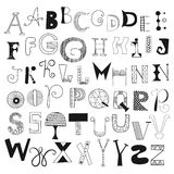 Hand drawn alphabet letters from A to Z. Set of doodle letters for design Stock Photography