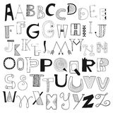 Hand drawn alphabet letters from A to Z. Set of doodle letters Stock Photos