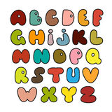 Hand drawn alphabet made in vector. Illustration of set of colorful alphabets Stock Photos