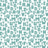 Hand drawn alphabet monochrome blue letters seamless pattern. Ink sketch texture and background. Hand drawn alphabet monochrome blue letters seamless pattern Stock Photography