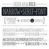 Hand drawn alphabet. Hand drawn narrow alphabet. Uppercase tall and thin letters and symbols isolated on white background. Handdrawn typography. Narrow doodle Stock Image