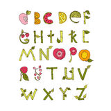 Hand drawn alphabet - Nature and Fruits Royalty Free Stock Image